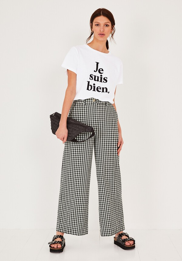 Gingham Wide Leg Trousers