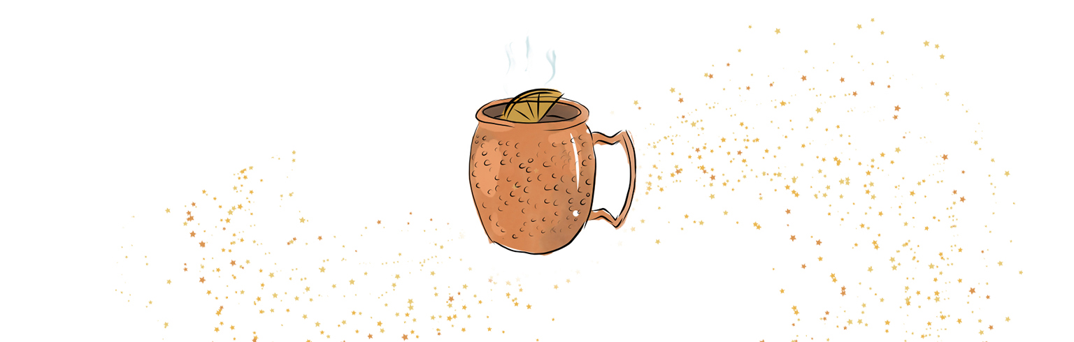 Illustrated image of a hot cocktail in a mug