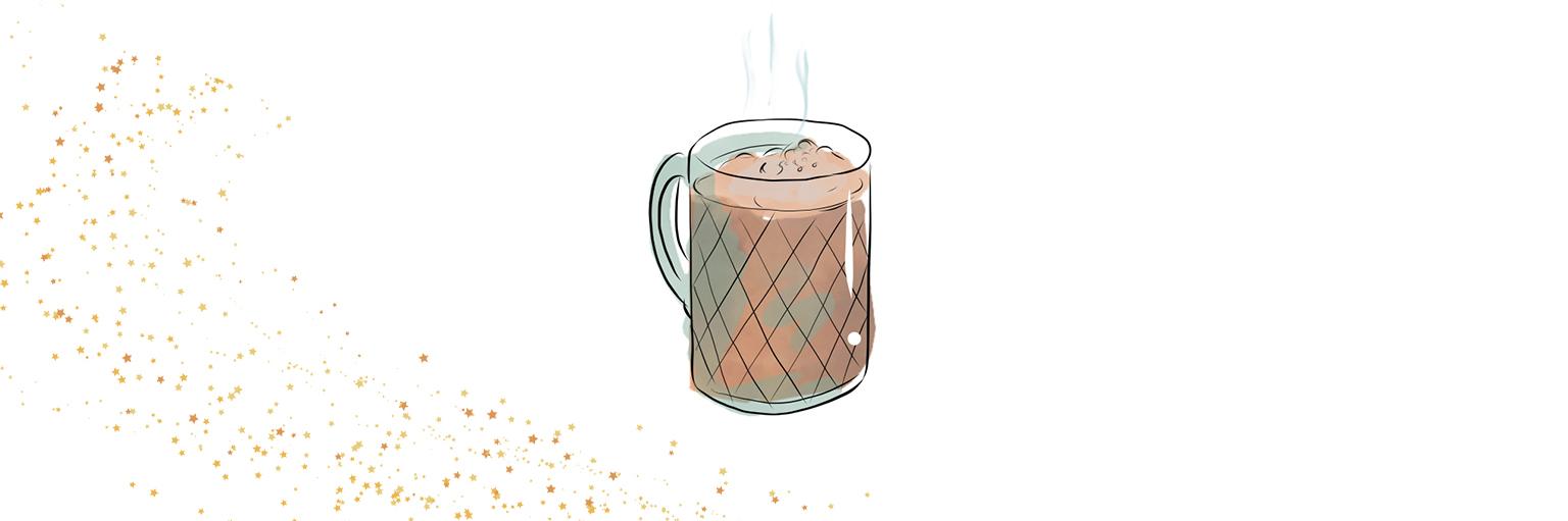 Illustrated image of hot chocolate in mug