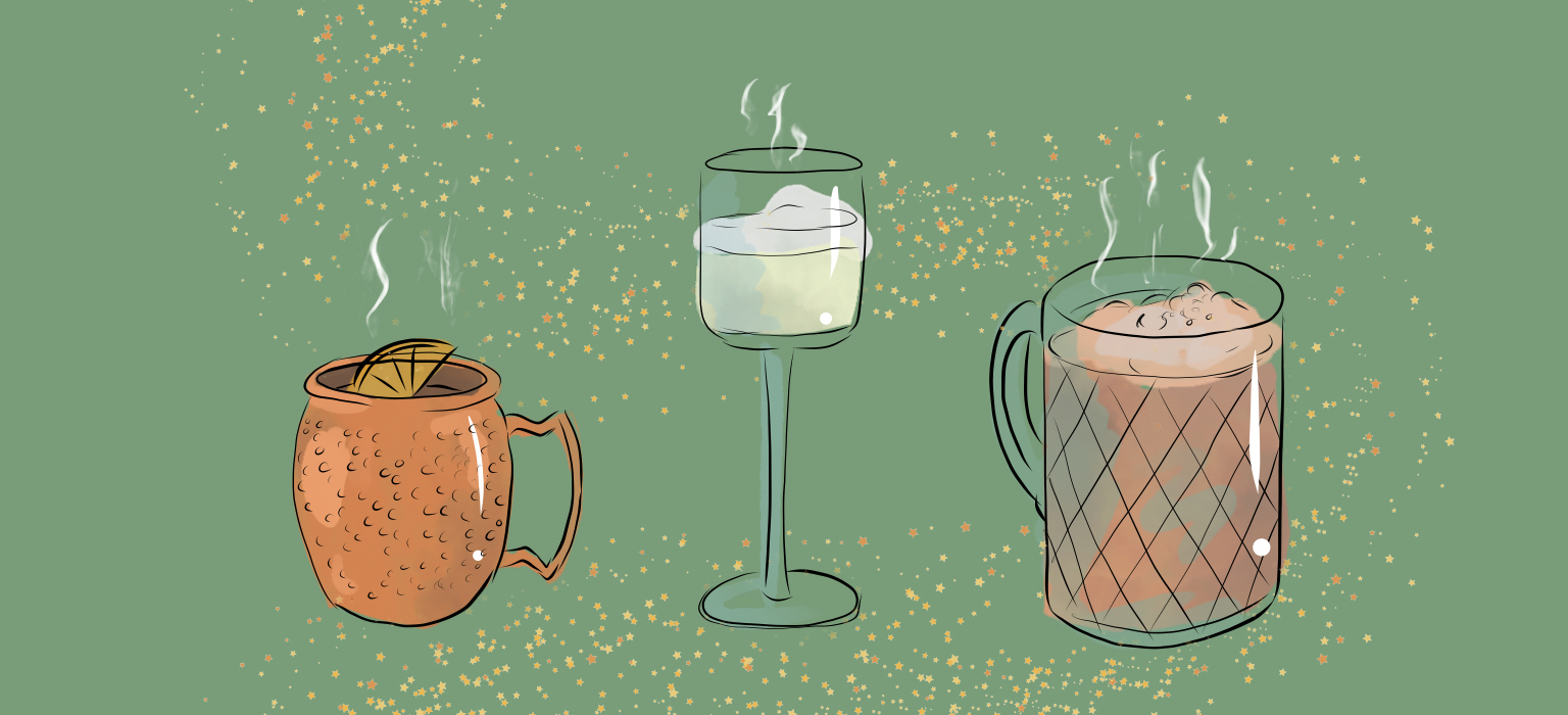 Illustration of three cocktails on a green background