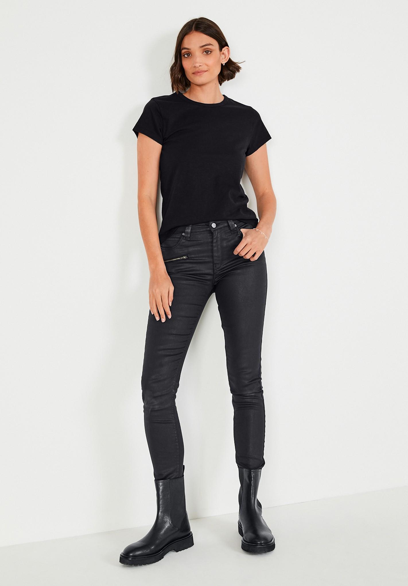 hush black coated jeans black