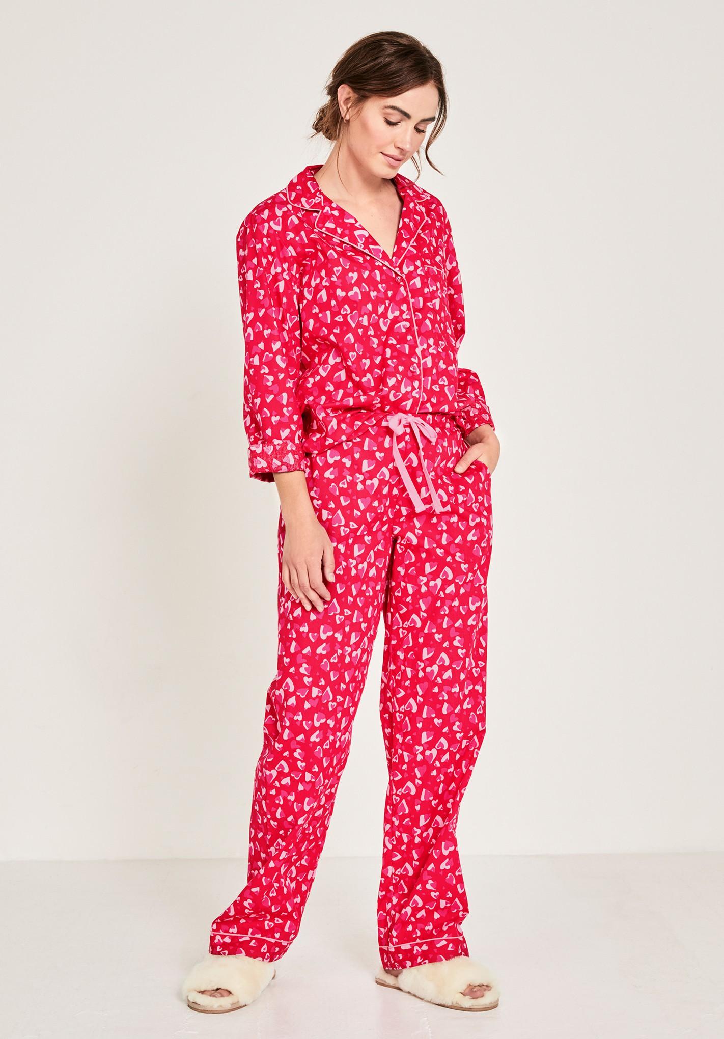 hush red-hearts gabriela printed pyjamas red
