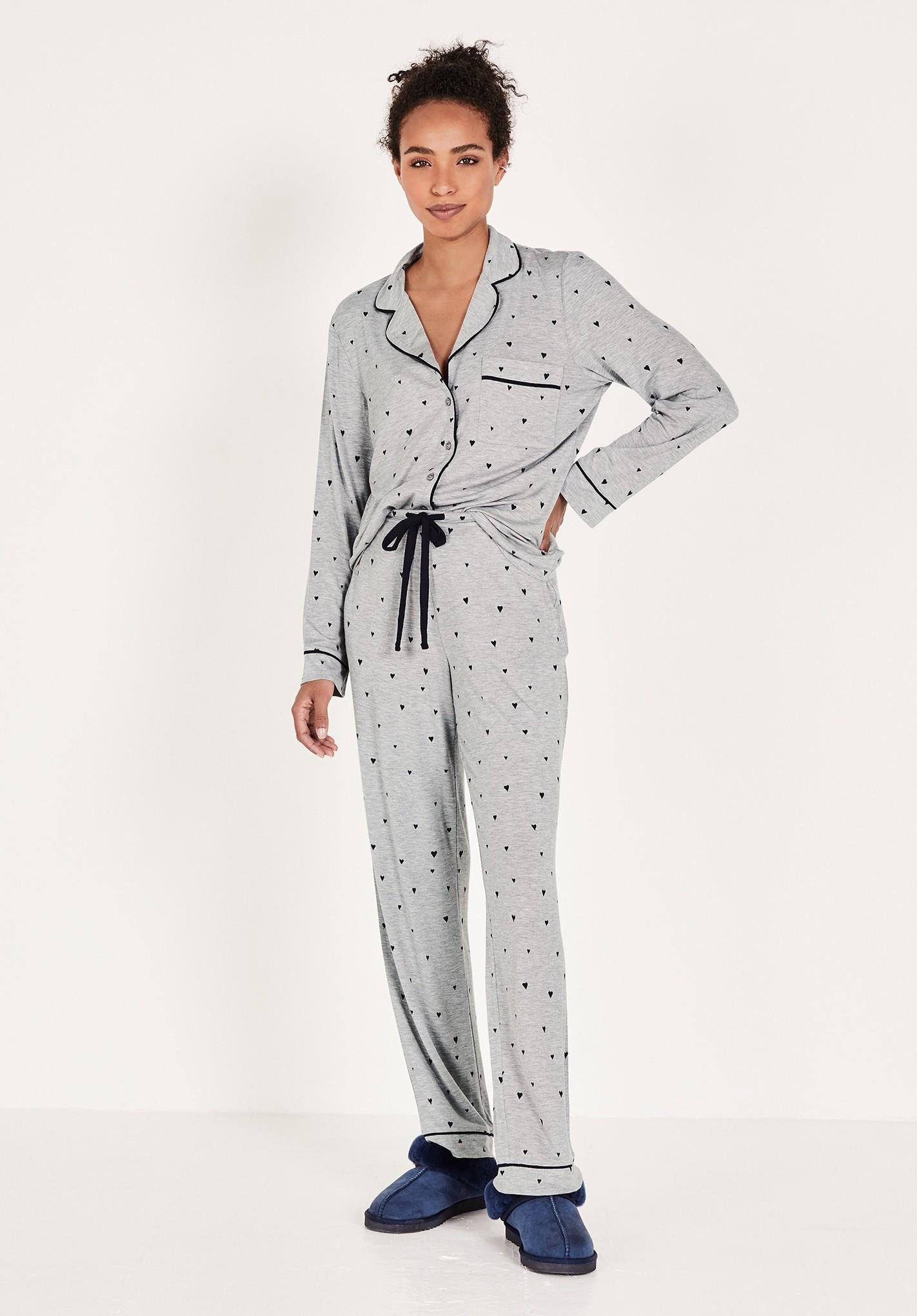 hush grey-marl-heart-print annabel jersey pyjamas grey