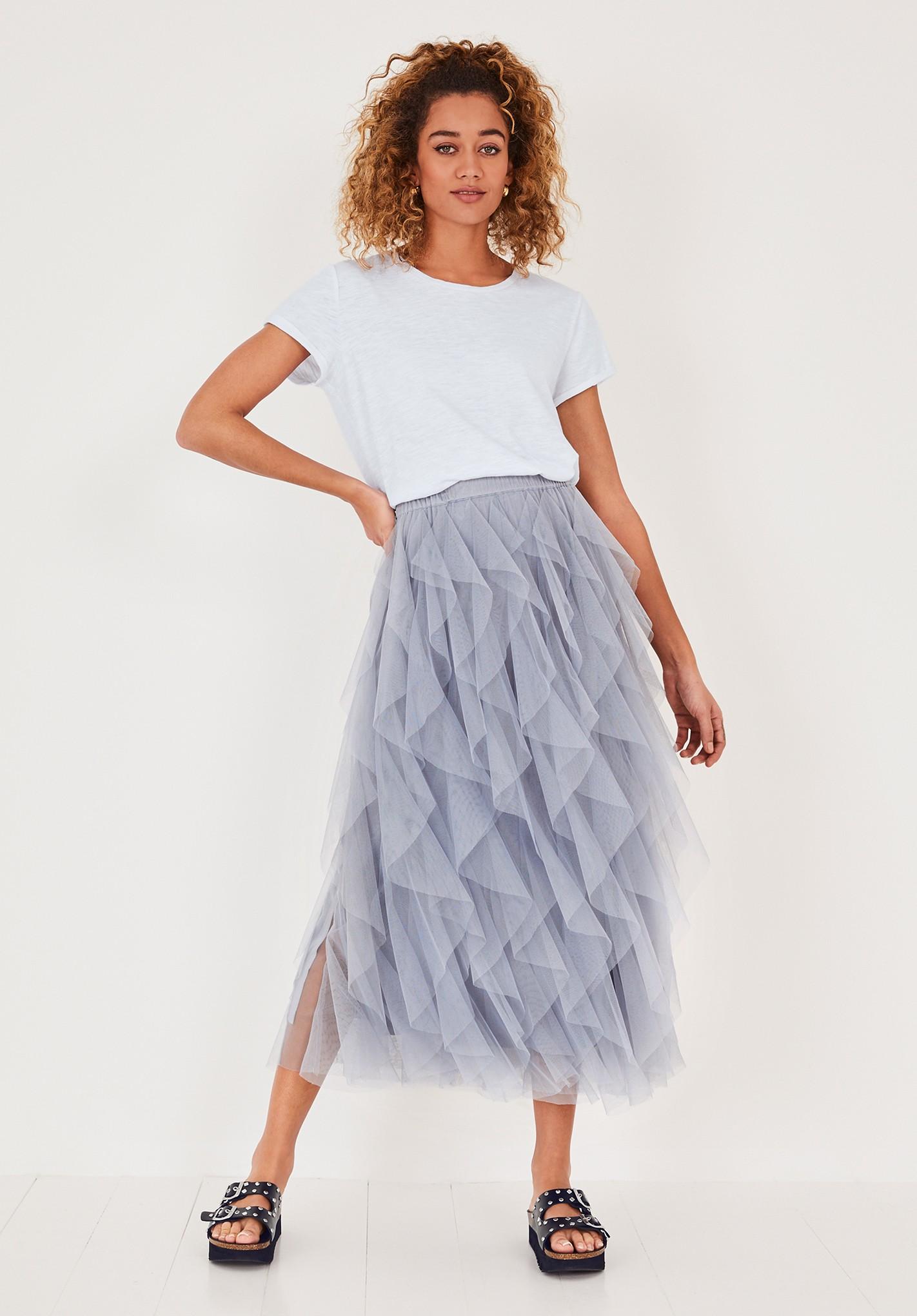 hush pale-blue floriza ruffled skirt pale blue