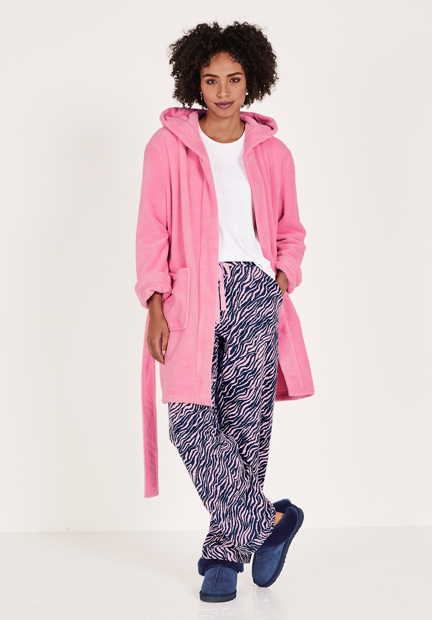 hush pink hooded dressing gown pink