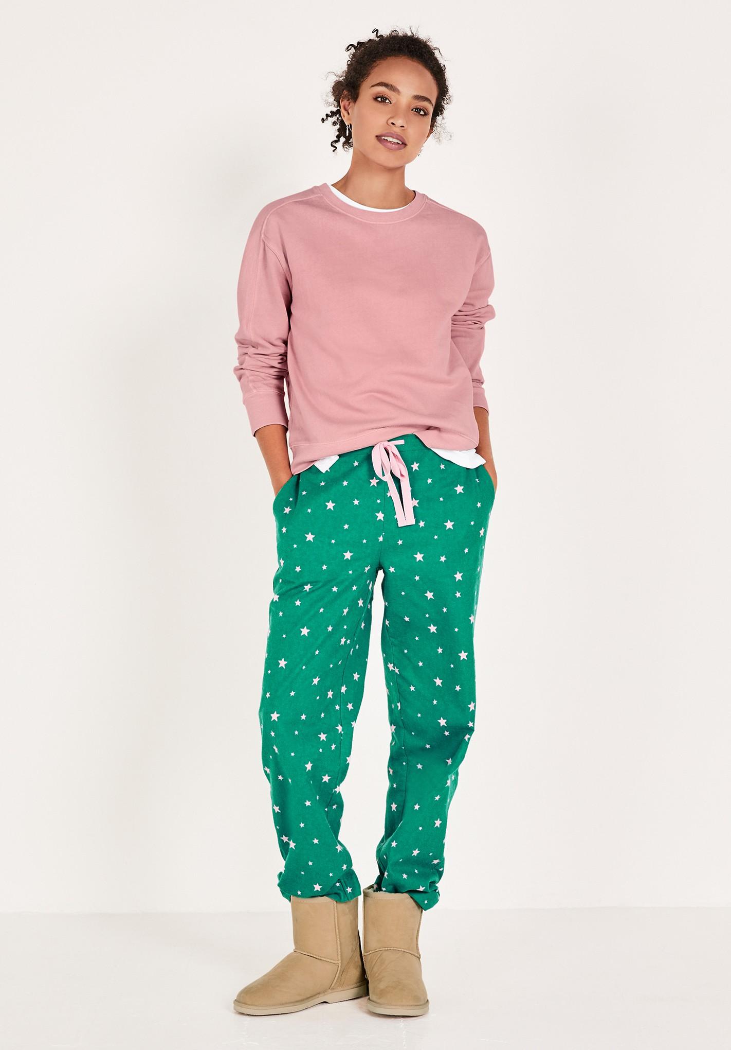 hush green-pink-star liv flannel pyjama trousers green