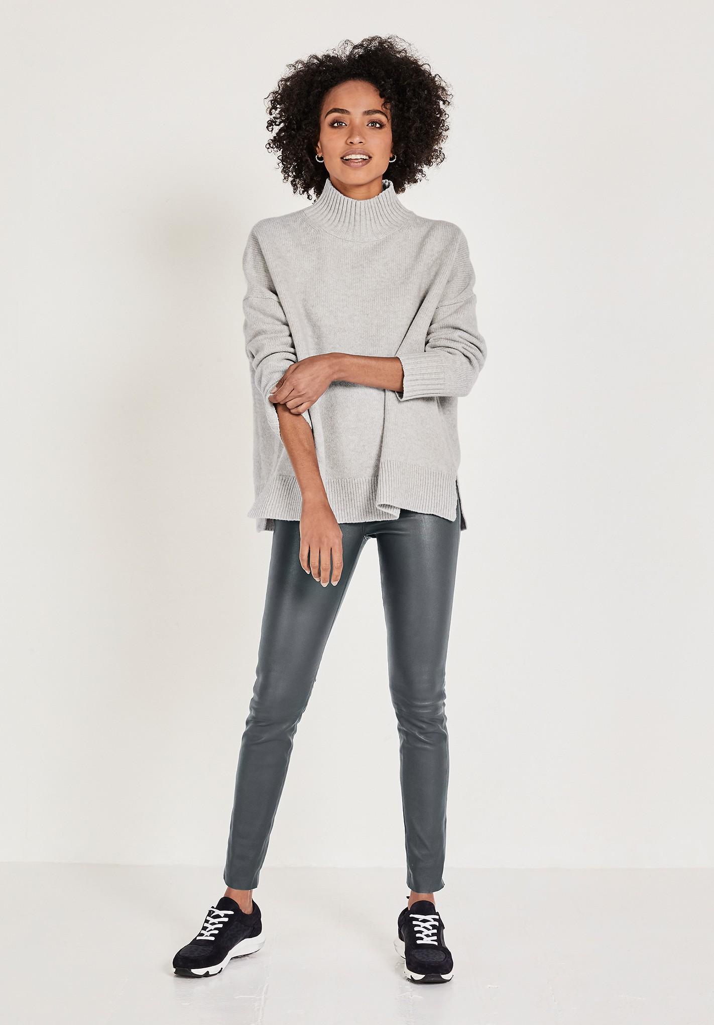 hush light-grey-marl nina relaxed jumper grey
