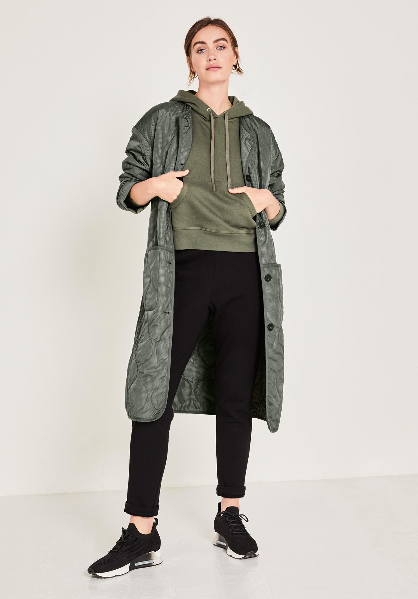 hush khaki-green daxton quilted jacket khaki green