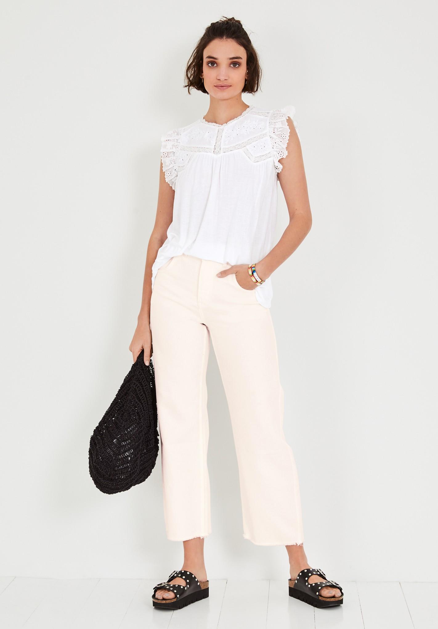 hush white freda lace detail t-shirt white