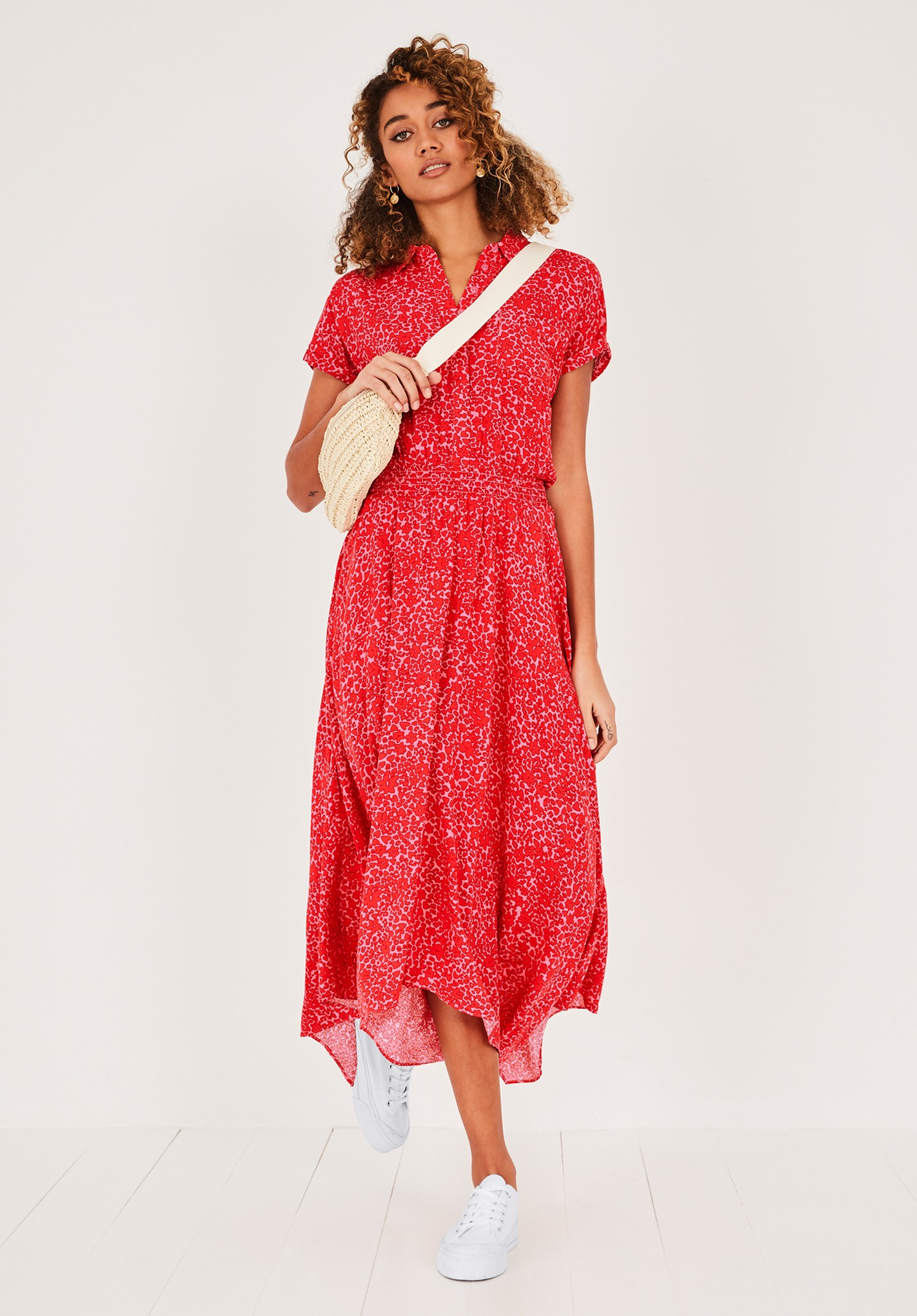 hush floral-animal-pink-red kensington shirt dress pink/red floral