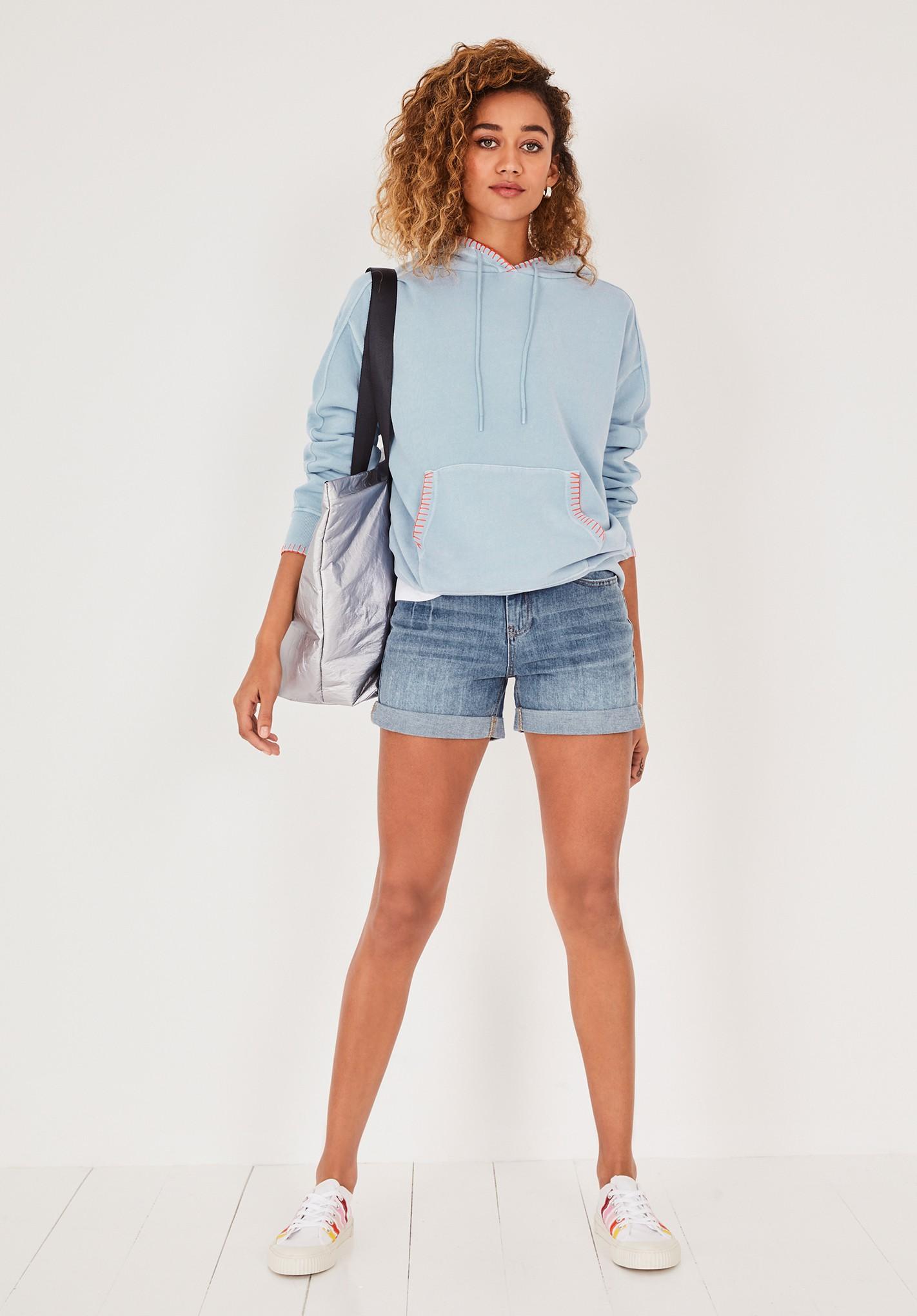 hush summer-blue contrast stitch hoodie blue